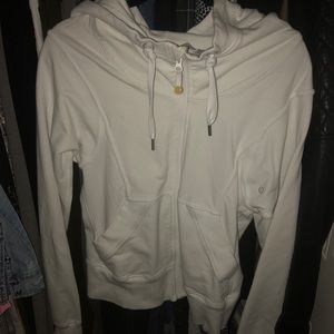 Lululemon white cotton zip up hoodie 8
